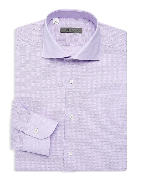 Corneliani Men's Jersey Pique Oxford Shirt In Indigo