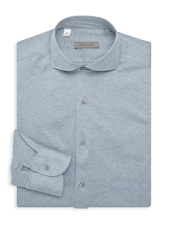 Corneliani Men's Check Dress Shirt In Silver