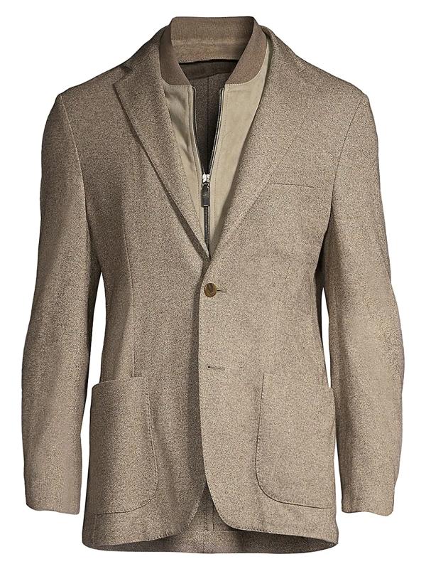Corneliani Men's Solid Twill Single-breasted Jacket In Tan