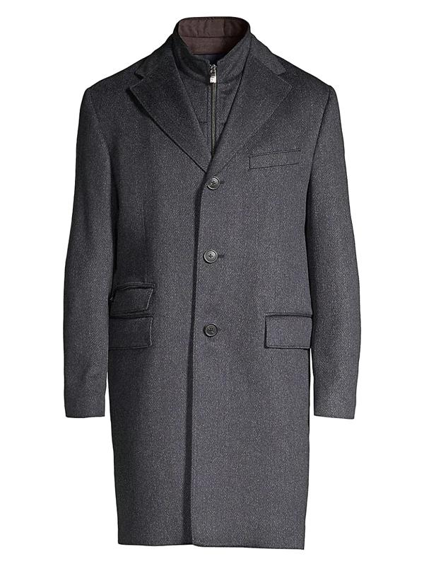 Corneliani Men's Single-breasted Wool Top Coat In Blue