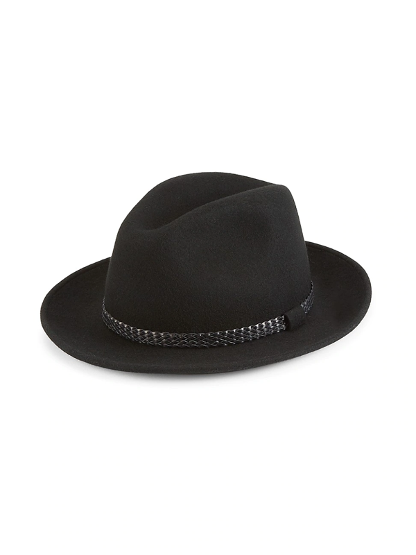 Saks Fifth Avenue Men's Collection Wool & Leather Braid Fedora In Black