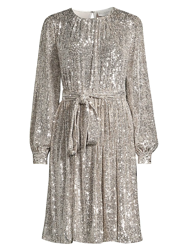 Sachin & Babi Women's Chloe Sequin Tie Waist Shift Dress In Silver