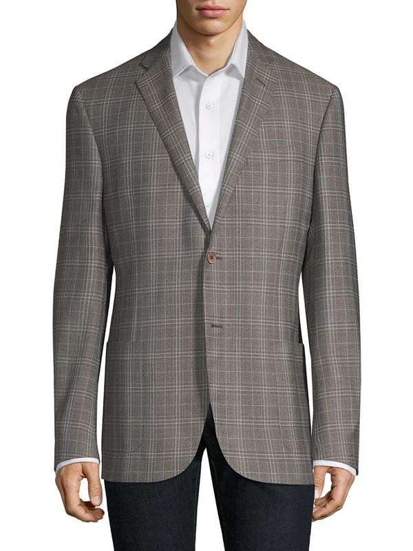 Corneliani Men's Washed Plaid Wool Jacket In Brown
