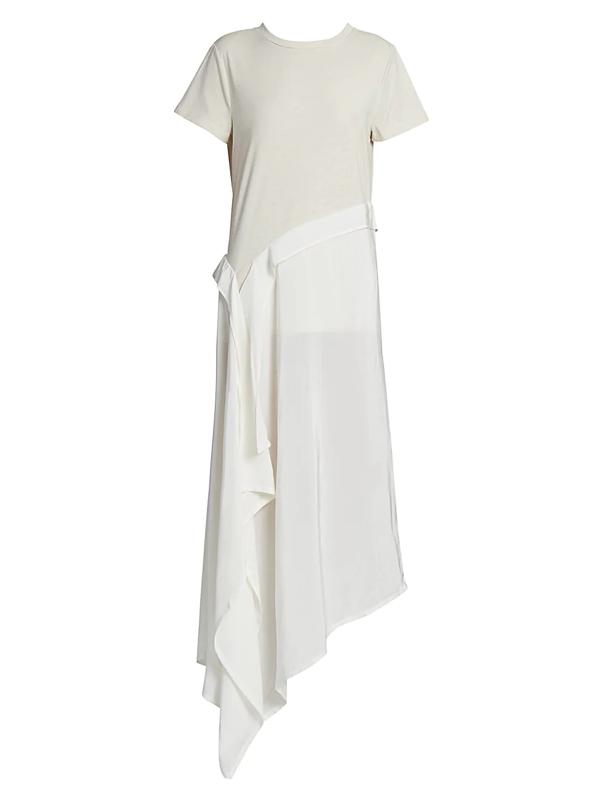 Loewe Women's Asymmetric Cotton & Silk T-shirt Dress In White