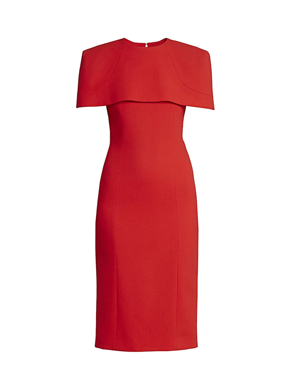 Givenchy Women's Structured Shoulder Cape Wool Dress In Red