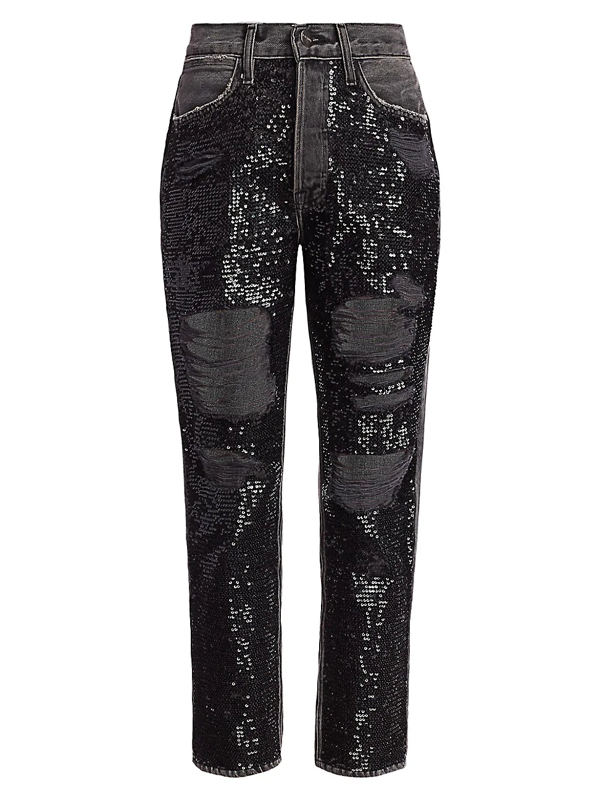 Frame Women's Sequin Distressed High-rise Straight-leg Jeans In Basque Rips