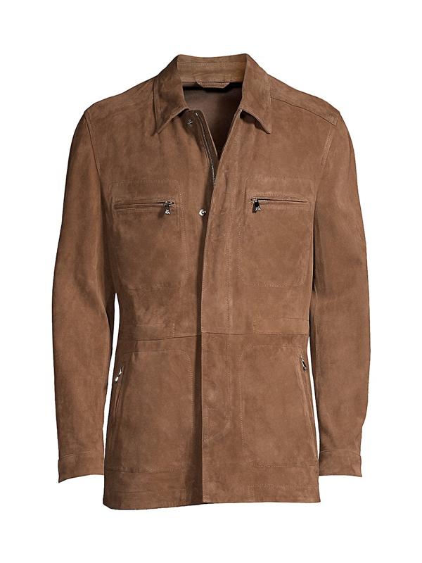 Corneliani Men's Suede Safari Jacket In Brown