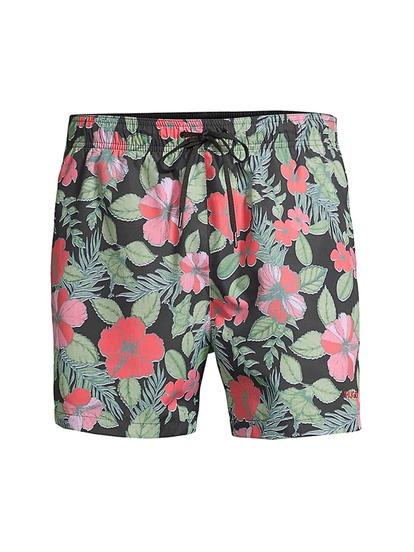 Hugo Men's Hawaii Floral Swim Trunks In Black