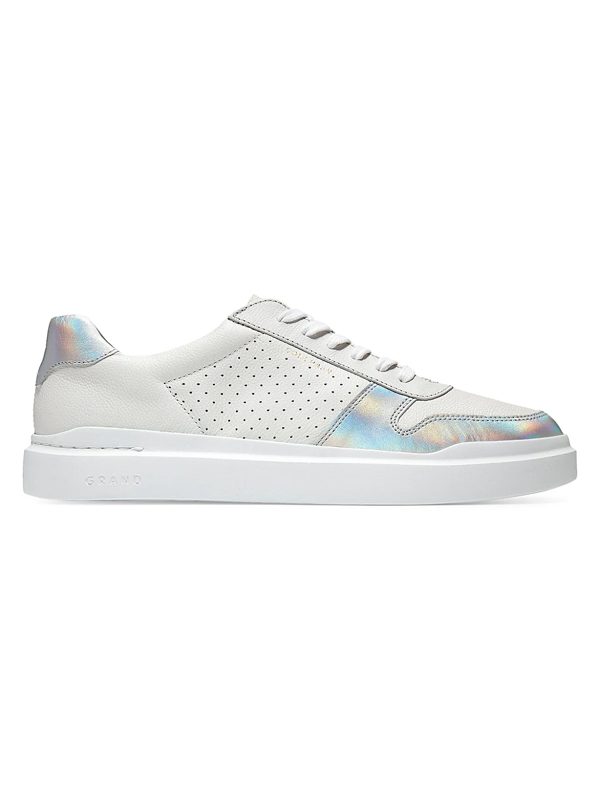 Cole Haan Women's Grandpro Rally Iridescent Leather Sneakers In Optic White