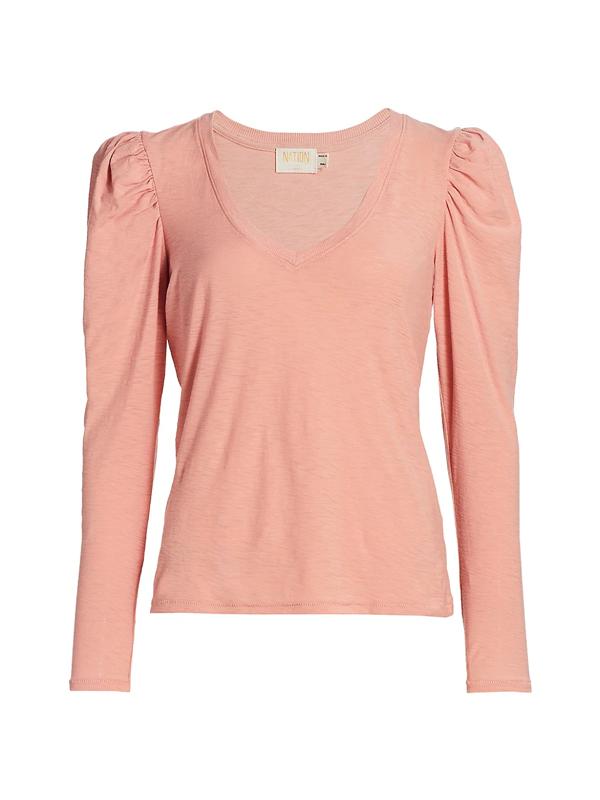 Nation Ltd Women's Clara Puff-shoulder Pima Cotton T-shirt In Cheeky
