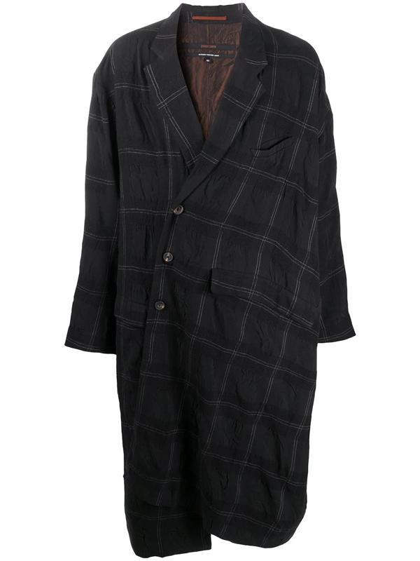 Ziggy Chen Oversize Asymmetric Check Coat In Black