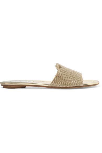 Jimmy Choo Nanda Slide-Schuhe Aus GoldlamÉ-Glitzergewebe In Gold LamÉ Glitter