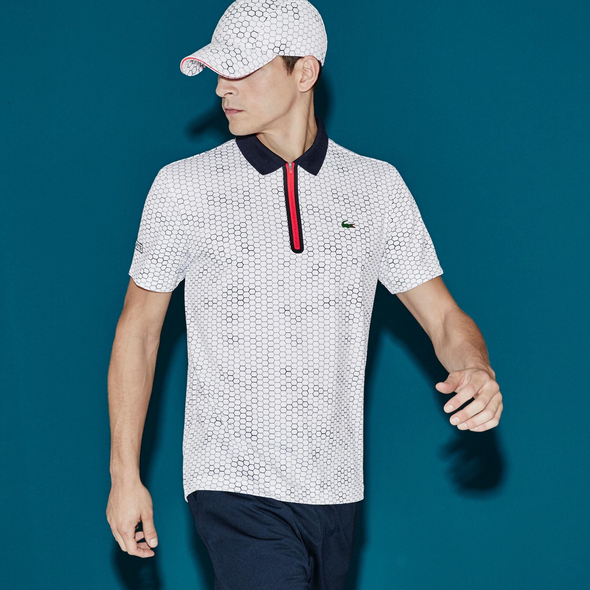 94b8810ca Lacoste Men s Sport Ultra Dry Zip Tennis Polo Shirt - White Navy Blue- Corrida