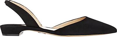 Paul Andrew Rhea Suede Point-Toe Flats In Black