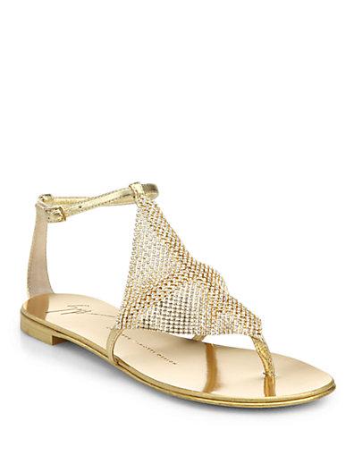 Giuseppe Zanotti Crystal-Paneled Metallic Leather Sandals In Gold