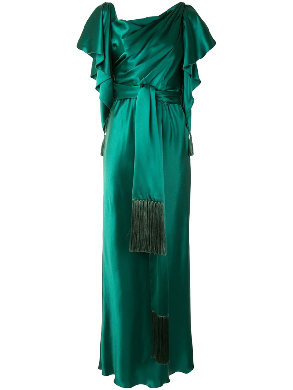 Dolce & Gabbana Cape Sleeves Tied Long Dress In Green