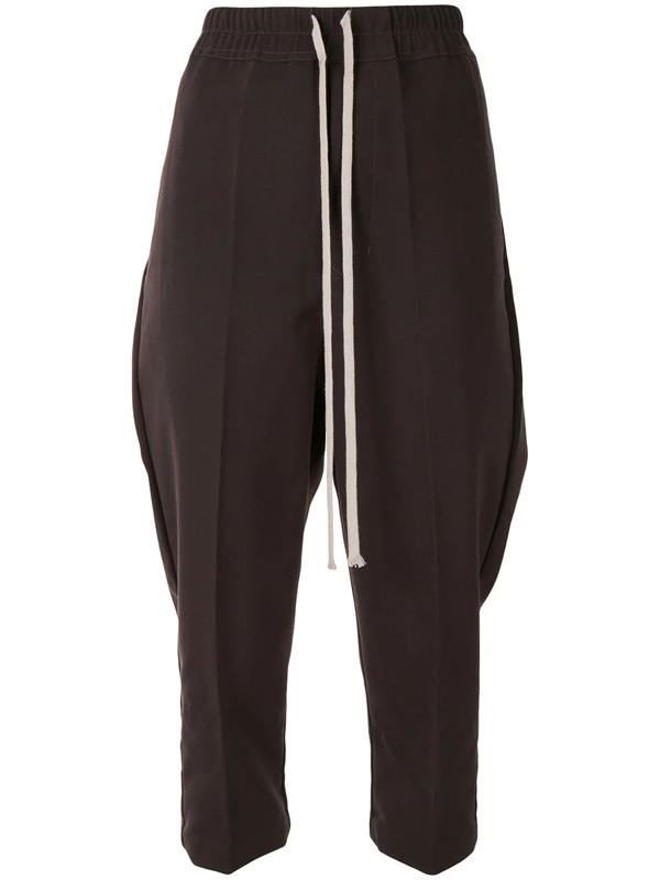 Rick Owens Tapered Drawstring Waist Trousers In Brown