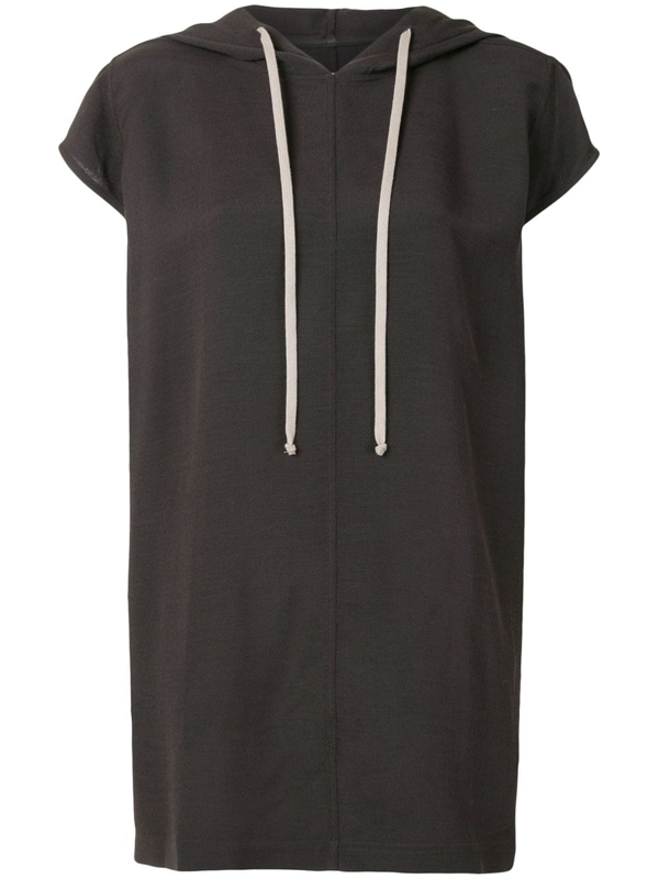 Rick Owens Short-sleeved Long Hoodie In Brown