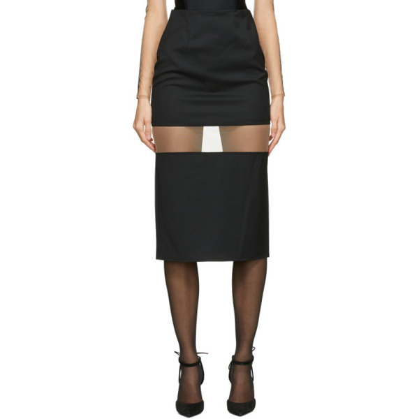 Mugler Segmented Sheer-panel High-waist Wool Midi Skirt In 1999 Black