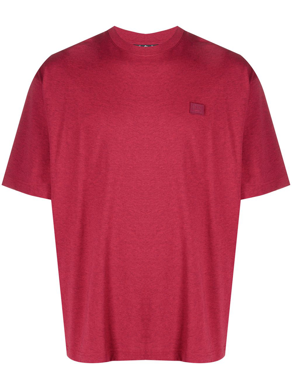 Acne Studios Cotton T-shirt With Logo Patch In Red