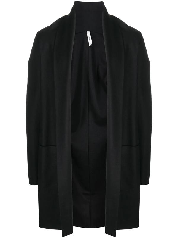 Attachment Shawl Lapel Open-front Cardigan In Black