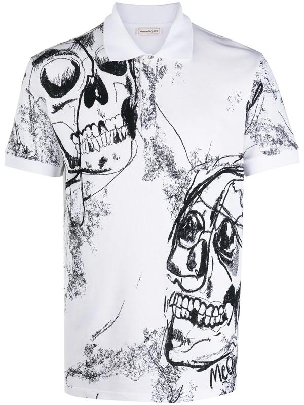 Alexander Mcqueen Skull Print Cotton Shirt In White