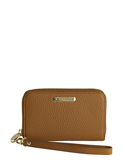 Gigi New York Pebbled Leather Phone Wristlet In Saddle