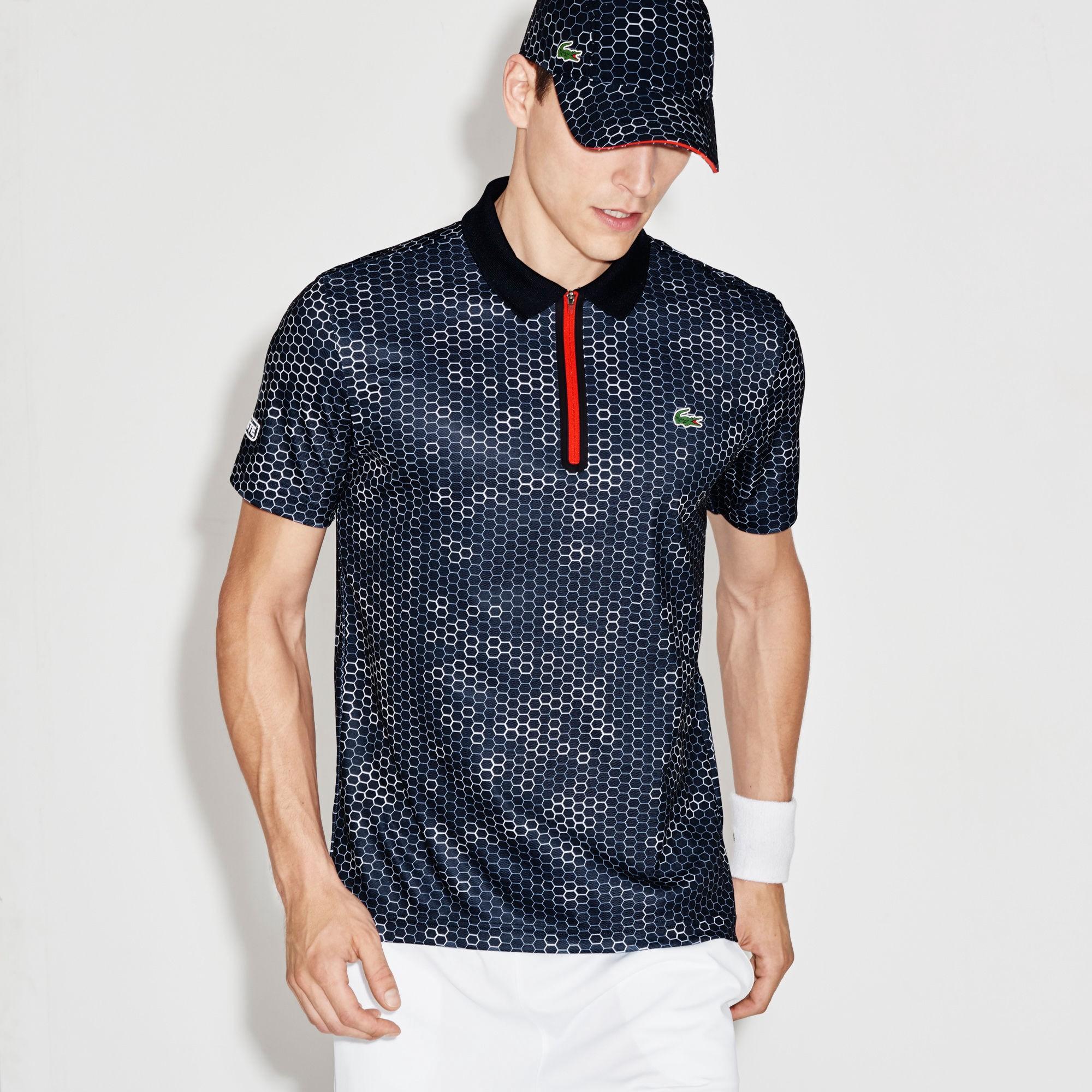 402497b4e Lacoste Men s Sport Ultra Dry Zip Tennis Polo - Navy Blue White-Corrida