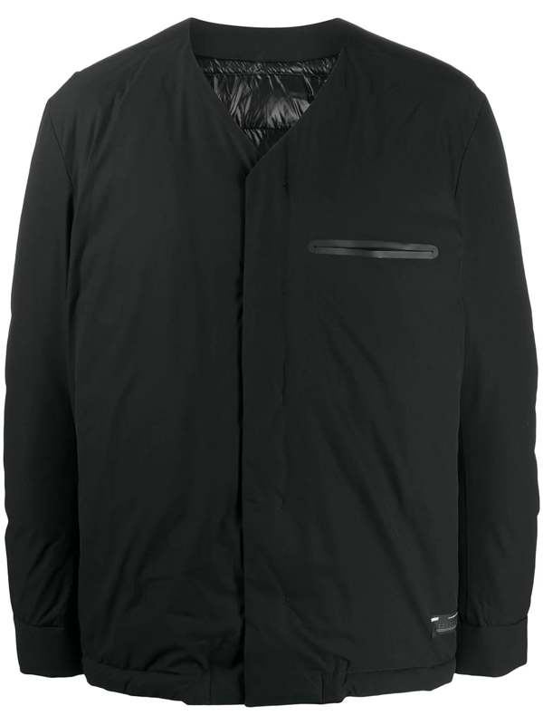 Attachment Collarless Padded Jacket In Black