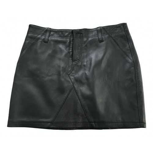 Pre-owned Les Benjamins Black Leather Skirt
