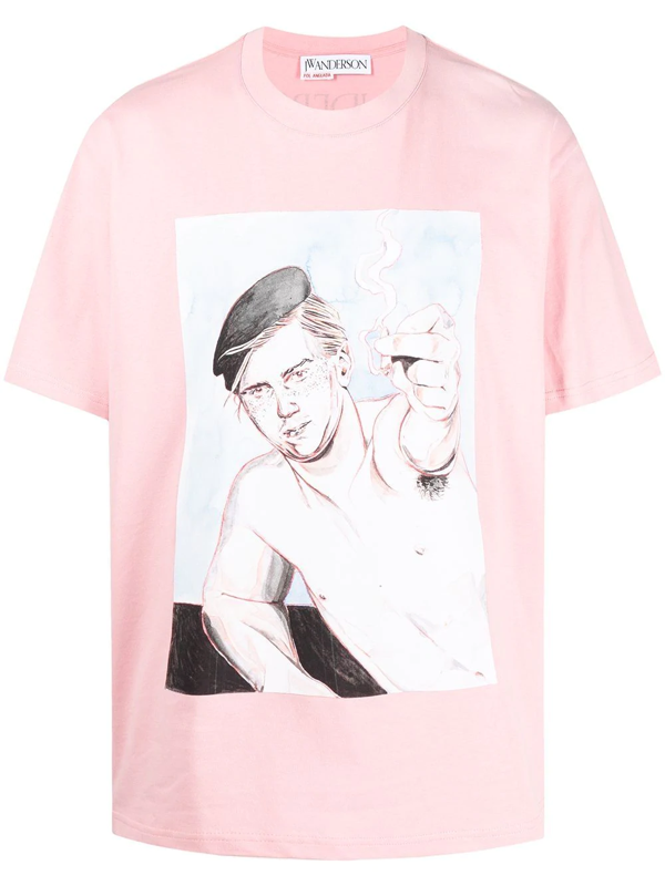 Jw Anderson Oversized Printed Face T-shirt In Pink