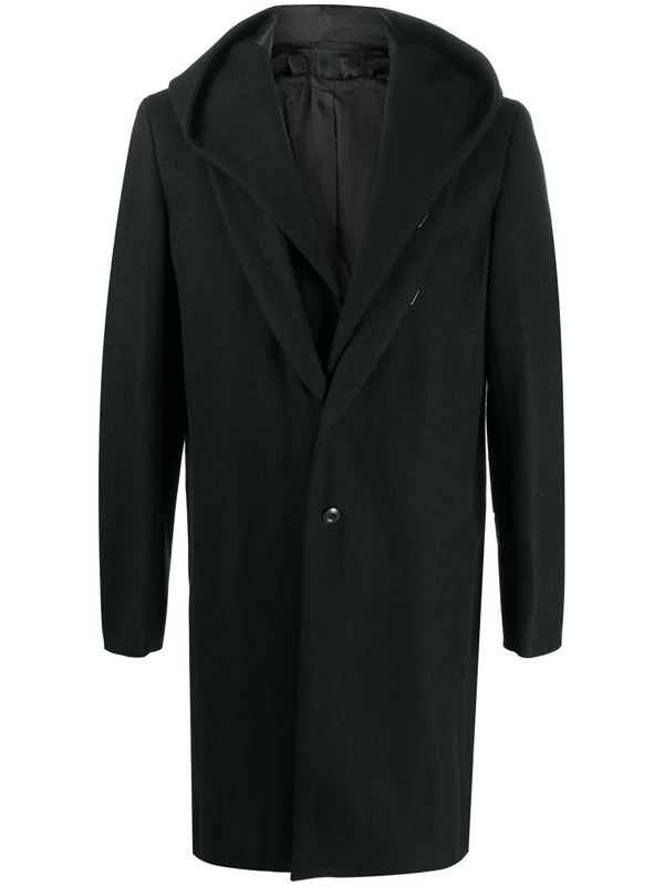 Attachment Single Breasted Hooded Coat In Black