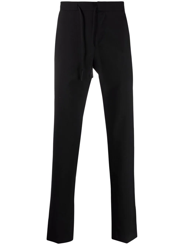 Maison Margiela Drawstring Waist Straight-leg Trousers In Schwarz