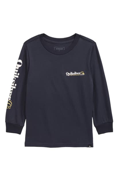 Quiksilver Kids' Check Yo Self Long Sleeve Graphic Tee In Navy
