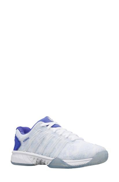 K-swiss Hypercourt Express Le Tennis Shoe In Whte/violet/xenon Blue