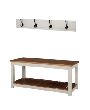 Alaterre Furniture Savannah Coat Hook With Bench Set, Ivory