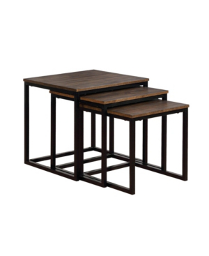 """Alaterre Furniture Arcadia Acacia Wood 24"""" Square Nesting End Tables In Brown"""