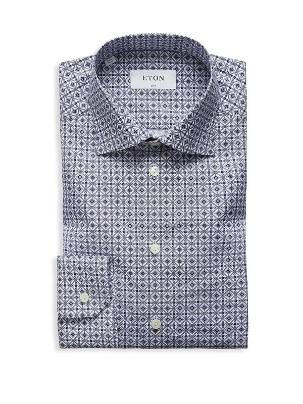 Eton Men's Slim-fit Printed Cotton Poplin Dress Shirt In Blue