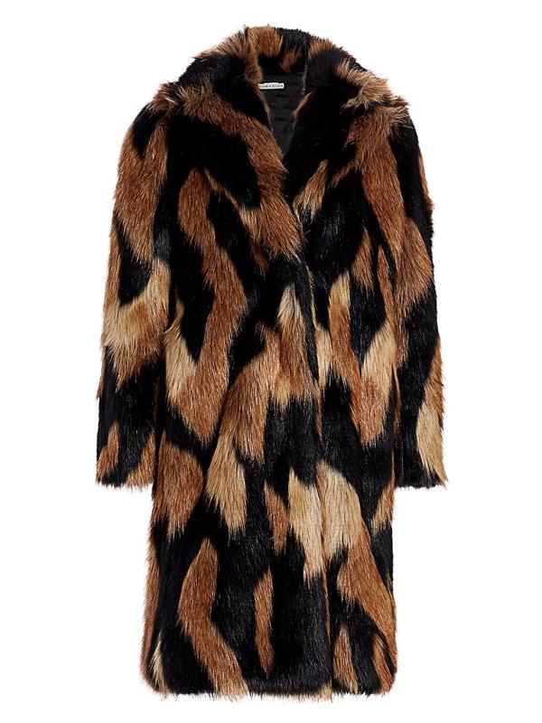 Alice And Olivia Women's Foster Faux Fur Full Length Coat In Black Medium Brown