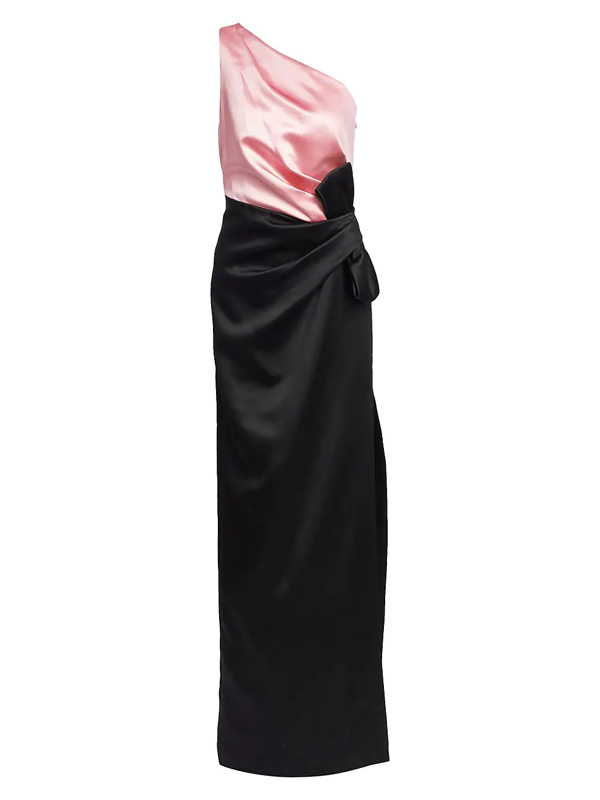 St. John Women's Bonded Duchess Satin Bow Gown In Caviar Abalone