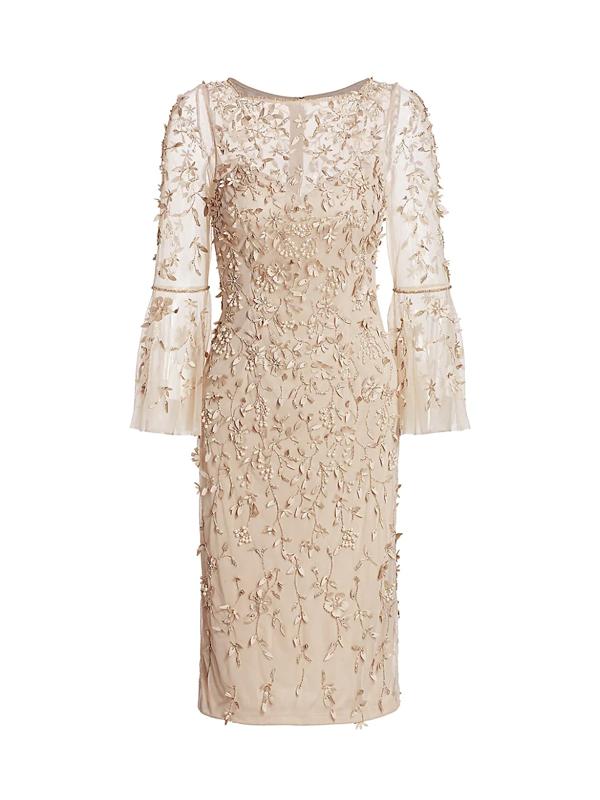 Theia Women's Beaded Flounce-sleeve Sheath Dress In Sandstone