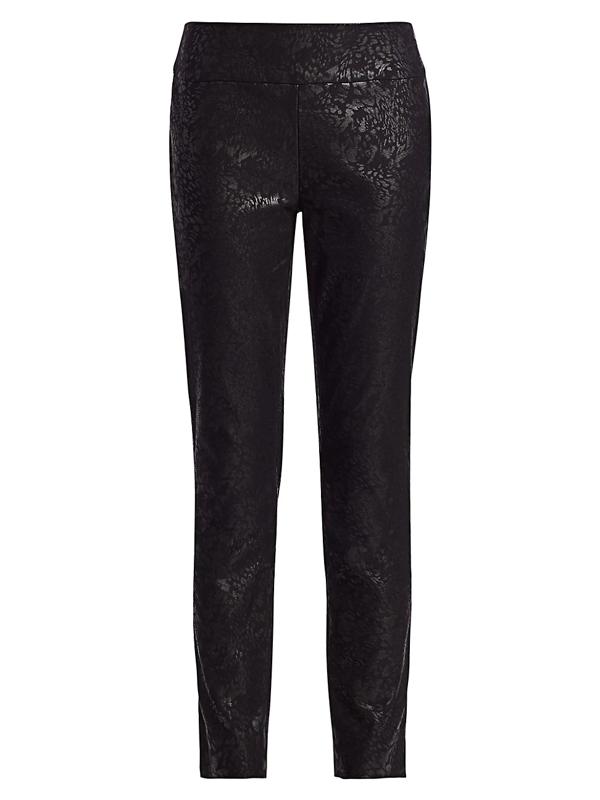 Nic + Zoe, Plus Size Women's Petite Embossed Snake-print Slim-fit Wonderstretch Pants In Neutral