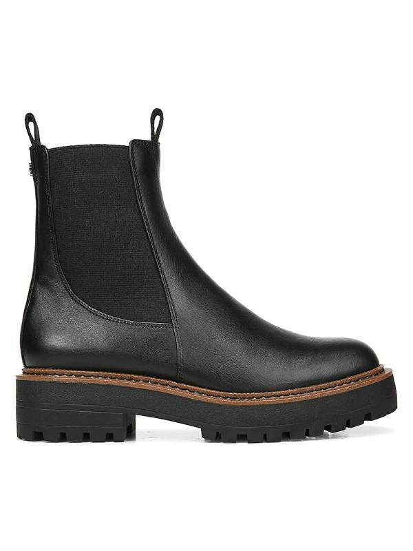 Sam Edelman Women's Laguna Lug-sole Leather Combat Boots In Black