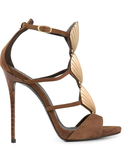 Giuseppe Zanotti Suede Sandals With Metallic Seashells In Brown