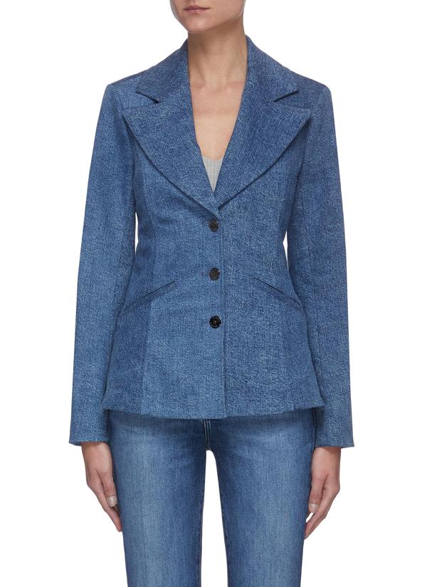 J Brand Fitted Denim Blazer In Blue
