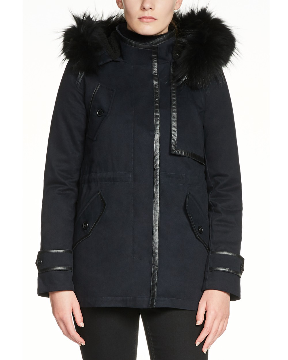 info pour 966ae 7c82f Maje Gamaso Faux Fur-Trimmed Parka in Nuit