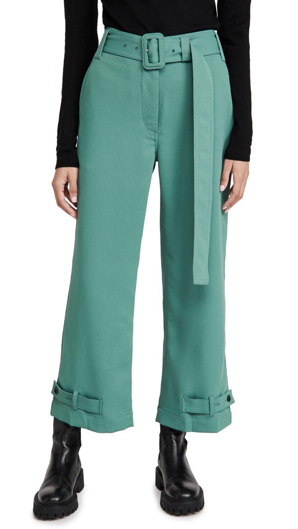 Proenza Schouler White Label Belted Rumple Pique Pants In Sage