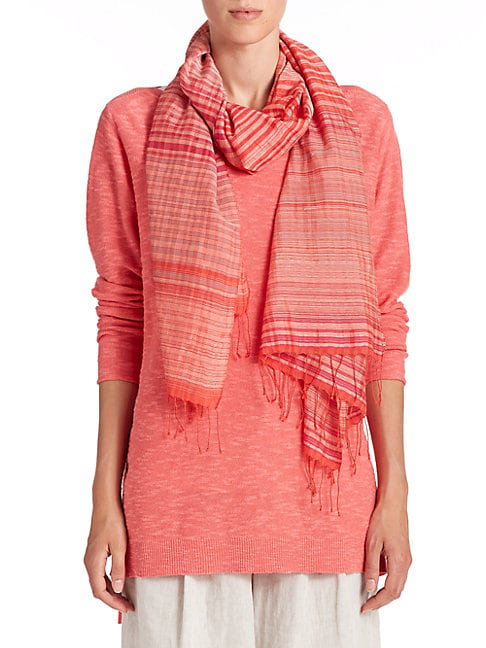 Eileen Fisher Organic Cotton & Silk Check Scarf