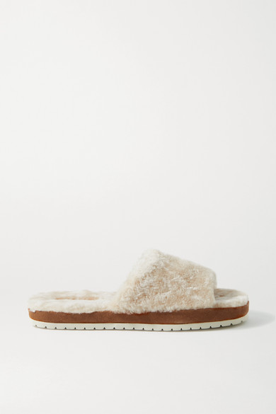 Vince Kalina Shearling And Suede Slides In Cream