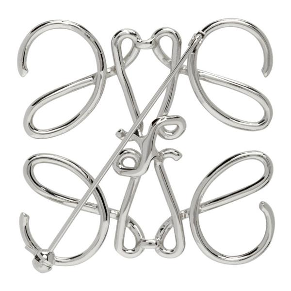 Loewe Silver Anagram Brooch In 9230 Pallad